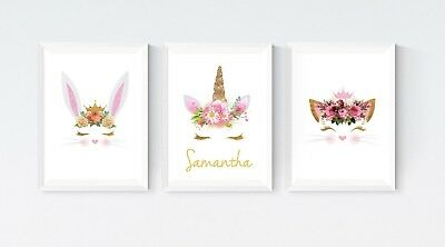 3 Unicorn Rabbit & Cat Nursery Personalised Prints Wall Art Room Pictures