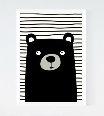 Black White Cute Kawaii Bear Modern Nursery Kids Room