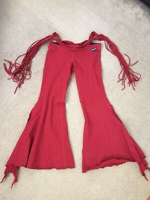MELODIA Red Fringe Pants Petite Size Small Short Inseam Tribal Belly Dance