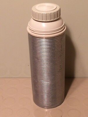 Vintage THERMOS VACUUM BOTTLE - RIBBED ALUMINUM  A101