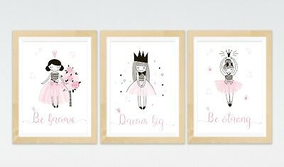 3 Princess Ballerina Quote Prints Fairy Tale Posters Nursery Wall Art Girls Room