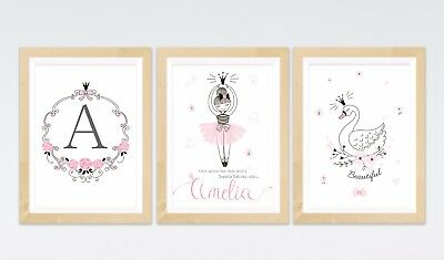 3 Personalised Princess Ballerina Ballet Swan Nursery Prints Wall Art Pictures