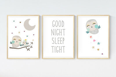 3 Cute Baby Owl Prints - Good Night Quote Nursery Wall Art Room Decor Pictures