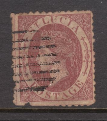 old St Lucia stamp 1860 (1d) rose red