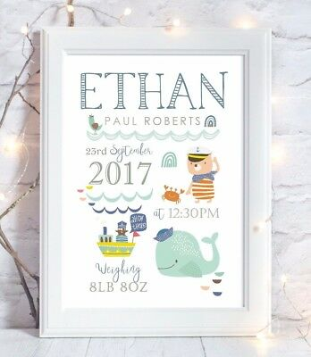 Personalised Nautical Sailor Whale Print Christening Birth Gift Wall Art Picture