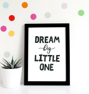 Black & White Modern Dream Quote Nursery Childrens Room Print Wall Art Picture