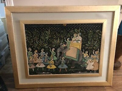 Large Indian Folk Art Wedding Party Couple on Elephant Oil Painting on Silk