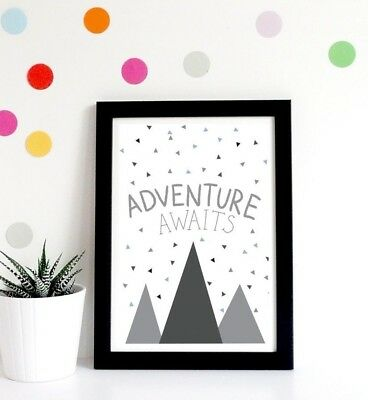 Kids Scandi Mountains Adventure Quote Print Modern Nursery Room Wall Art Picture