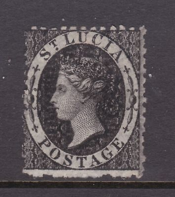 old St Lucia stamp 1864 (1d) black CC watermark perf 12½
