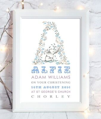 Personalised Elephant Christening Print Picture New Birth Gift Nursery Wall Art