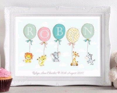 Personalised Jungle Animal Name Print Picture Christening Birth Gift Nursery Art