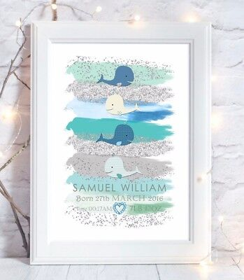 Personalised Whale Nautical Sea Print Birth Christening Gift Nursery Art Picture
