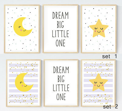 Set of 3 Cute Nursery Prints Dream Quote Star Cloud Baby Wall Art Modern Decor