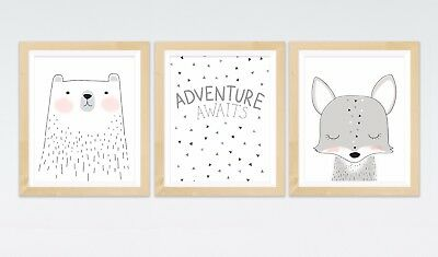 3 Woodland Forest Bear Animal Print Pictures  Birth Gift Nursery Wall Art Decor