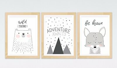 3 Mountain Adventure Bear Fox Prints Posters Kids Room Nursery Wall Art Decor