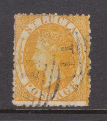 old St Lucia stamp 1864 (4d) yellow CC watermark perf 12½