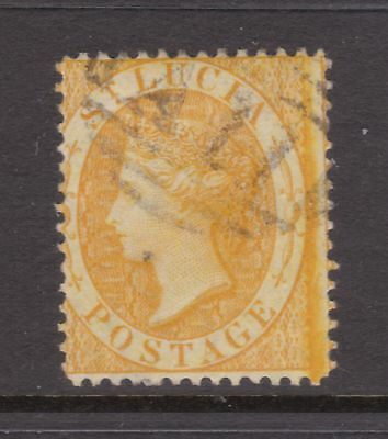 old St Lucia stamp 1864 (4d) yellow CC watermark perf 14