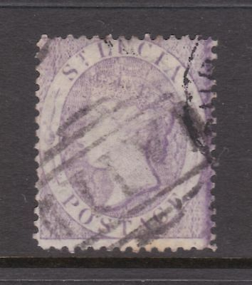 old St Lucia stamp 1864 (6d) violet CC watermark perf 14