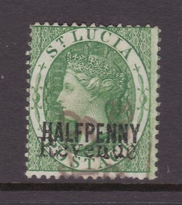 old St Lucia stamp 1883 ½d green Revenue CA watermark perf 14