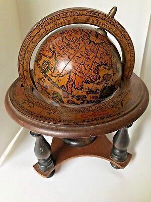Olde World Globe Tabletop Zodiac Astrology Vintage Music Box made in Italy