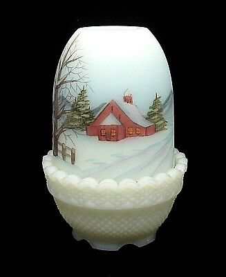 1981 Fenton Hand Painted Winter House Scene Fairy Lamp