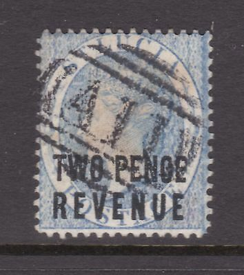 old St Lucia stamp 1882 2d light blue Revenue CA watermark perf 14