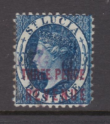 old St Lucia stamp 1882 3d blue Revenue CA watermark perf 14