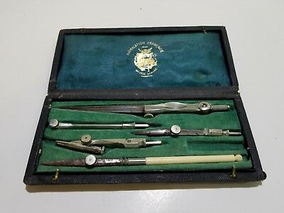 Fabrication Francaise Modele Depose Antique Drafting Tools with Leather Case