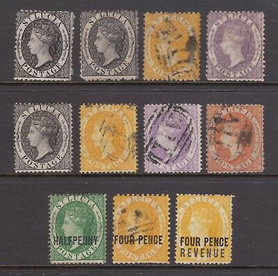 old St Lucia stamps 1864-84 collection of QV stamps