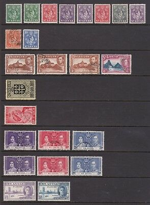 old St Lucia stamps 1937-1977 collection of GVI and QE stamps