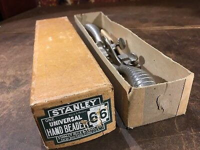 Stanley No 66 hand beading plane, with cutters, fence, and box