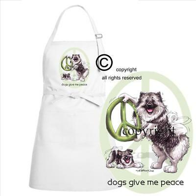 Keeshond Dog Breed Cartoon Caricature Dogs Give Me Peace Kitchen Chef Apron
