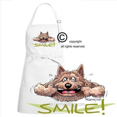 Norwich Terrier Dog Breed Cartoon Caricature Big Smile Kitchen Full Chef Apron