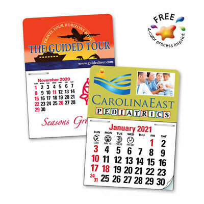 PRESS-N-STICK CALENDARS, 4/C - 250 quantity - Custom Printed with Your Logo