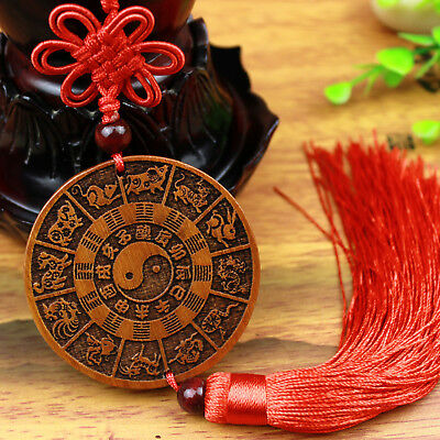 Tai Chi Diagram Chinese Zodiac Wood Carved Statue Home Car Pendant Augral Amulet