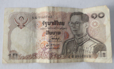 Thailand 10 Baht 1980s 5 G Banknote Paper Money Circulated Currency Bank