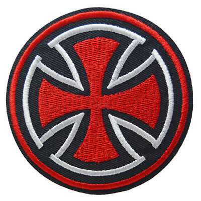 Maltese Cross Iron On Patch Sew Badge Embroidered Independent Skate Rockabilly