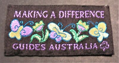 """Girl Guides Australia Ribbon Patch """"making A Difference"""" Brownies Scouts"""