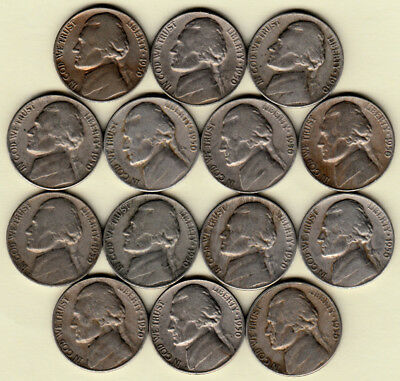 1950-D Average Circulated Jefferson Nickel 0Ne (1) Coin From Group Free Shipping