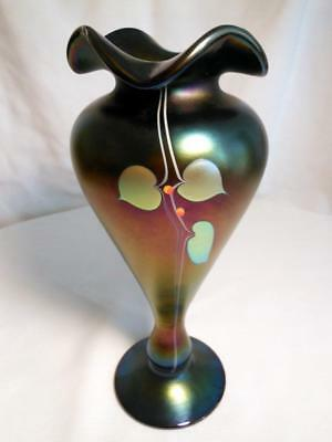 "Stunning Stuart Abelman Hanging Hearts Art Glass Vase 11"" So Well Done No Res"
