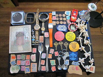 Junk Drawer Lot estate sale old coins old stamps watches lot vintage keys old