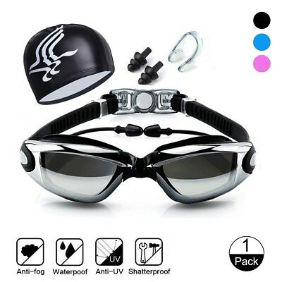 Adult Junior Swimming Goggles UV Antifog Swim Cap Ear Plugs Nose Clip Combo Set