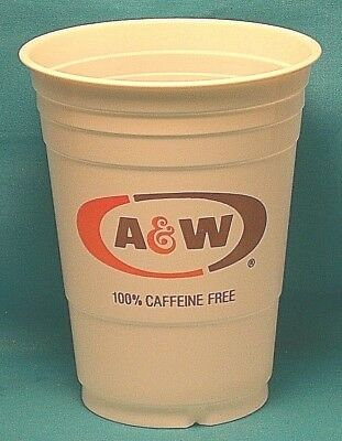 A & W ROOT BEER 16oz Solo Plastic Cups / Set of 4 / Oval Logo / 1980's