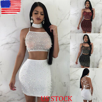 7301294b174 Women 2 Piece Bodycon Two Piece Crop Top and Skirt Set Lace Up Dress Party  US