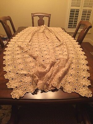 A WONDERFUL VINTAGE HAND MADE  TURKISH CROCHET CREAM- LARGE TABLECLOTH or BEDSPR
