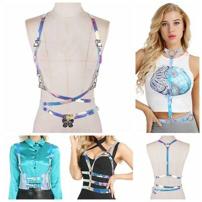 Women Vinyl PVC Body Chest Harness O-Rings Roleplay Costume Sexy PUNK Waist Belt