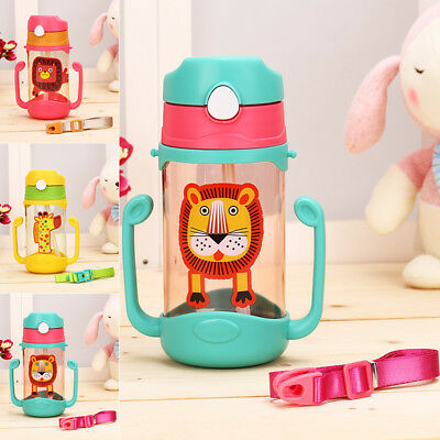 Portable 400ml Baby Kids Cartoon Drinking Feeding Water Bottle Straw Suction Cup