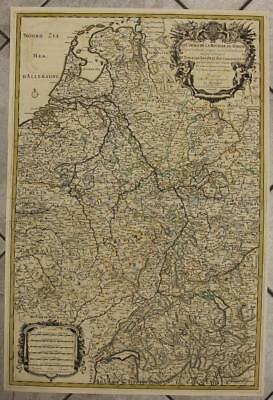 Rhine River Netherlands Germany 1692 Sanson/jaillot Wall Unusual Antique Map