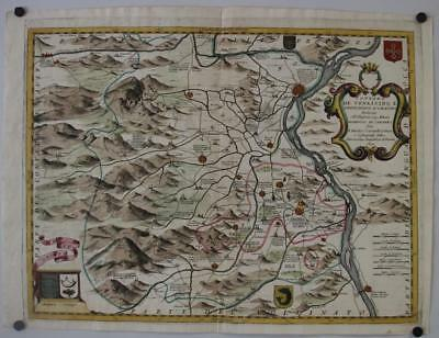 Avignon Orange France 1690 Coronelli Unusual Antique Copper Engraved Map