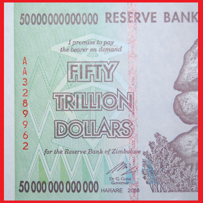 Zimbabwe 50 Trillion Dollars Plus Free $5.00! Uncirculated!